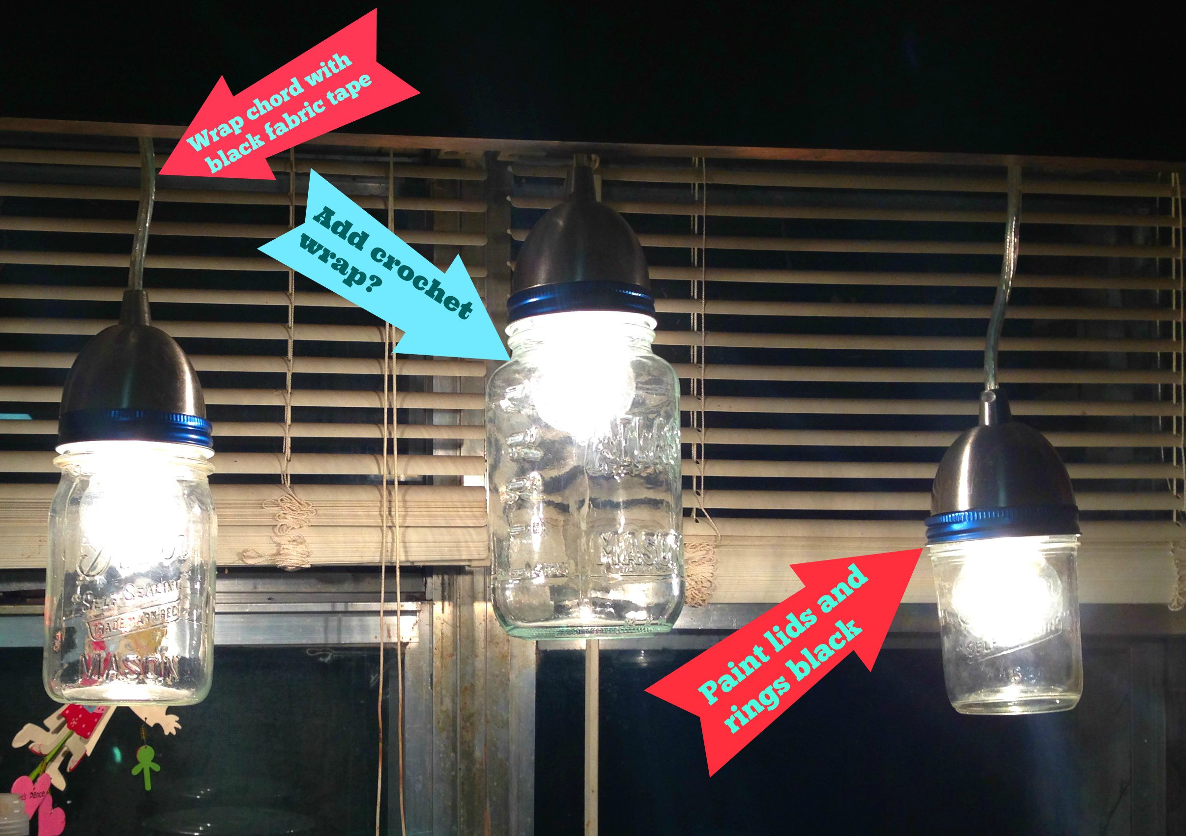 Diy happy mason jar light fixture part 1 tri light arrows arubaitofo Gallery