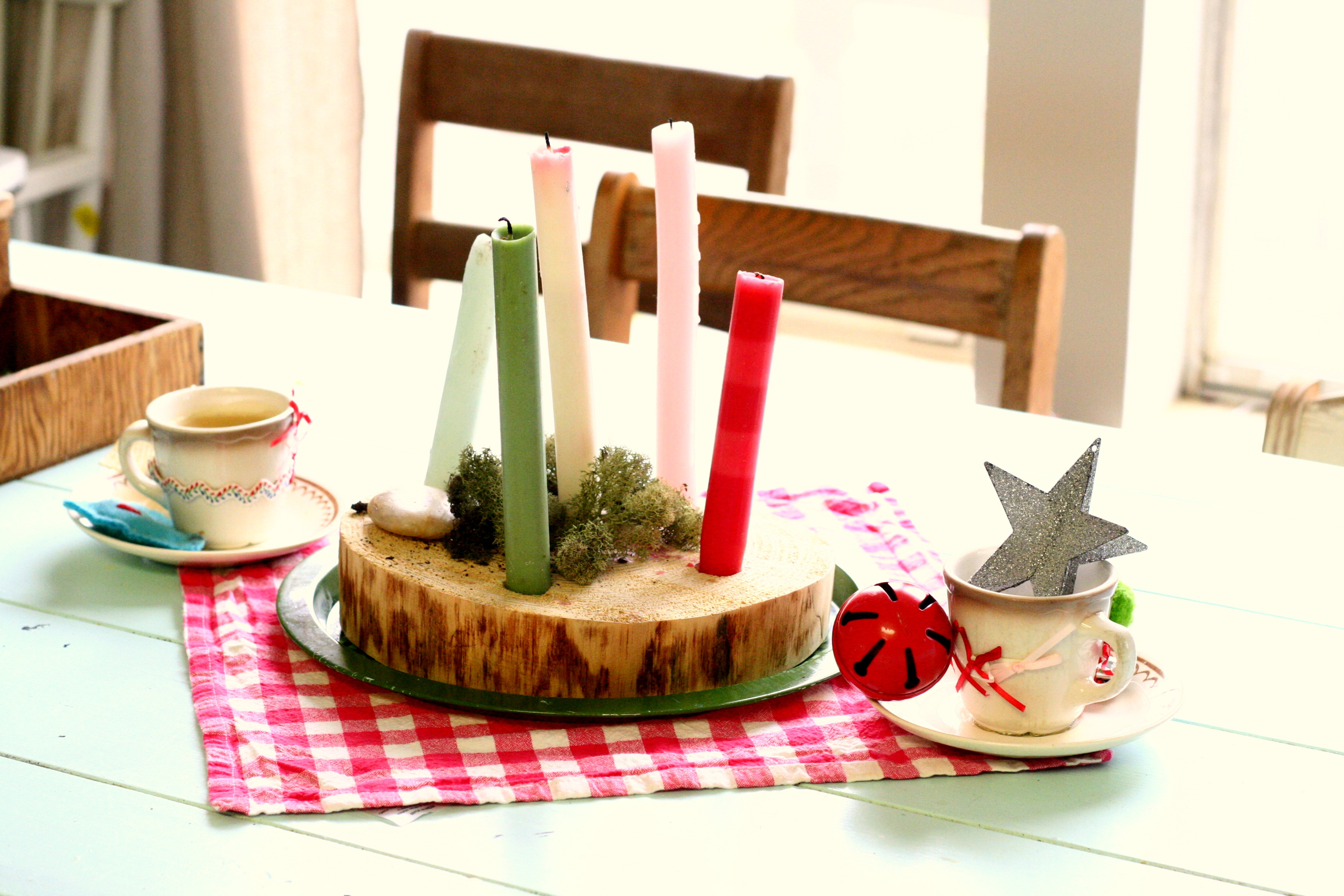 woodland advent wreath on table