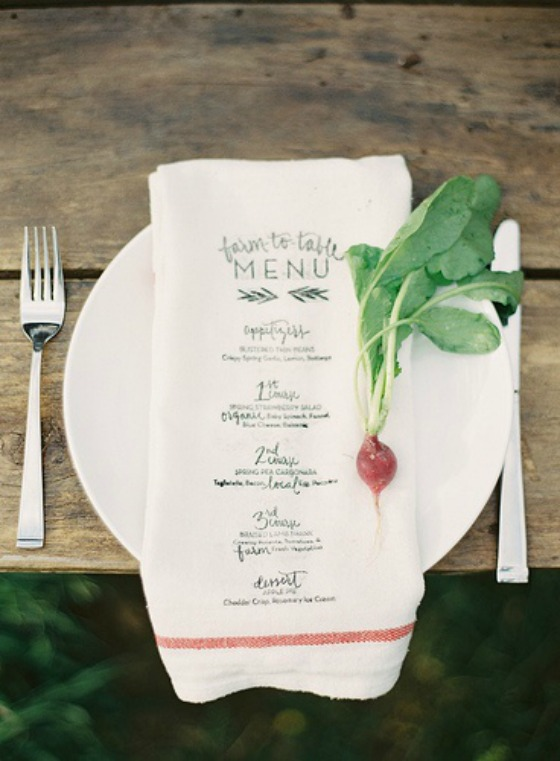 menu towel